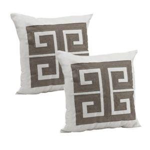 "Set of 2 20"" x 20"" Greek Key Gray Pillows NEW"